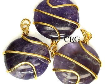 Gold Plated Round Spiral Wrapped Amethyst Pendant (RS4DG)