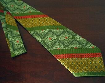 Vintage Men's Necktie – Green Orange Yellow Textured