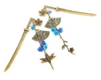 Single or set Japanese hair sticks - frosted shades of blue lucite flowers - sakura kanzashi japan fan dragonfly pins chopsticks hairpiece