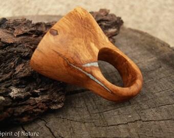 Oak wood rings for women Oak wooden rings with turquoise inlay for women Oak wood ring for women Oak wood statement ring Jewelry for women