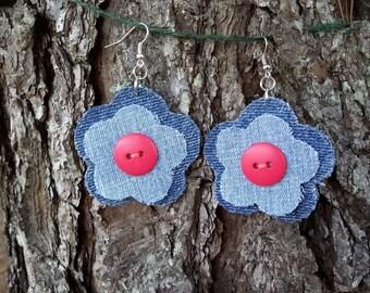 Recycled Denim Flower Earrings