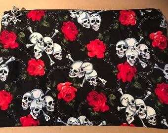 Skull and Roses Make up bag gothic rockabilly