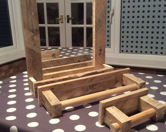 Rustic Bathroom Mirror with Shelf, Towel Rail and Toilet Roll Holder Package