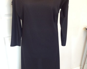 Original Vintage 1970's Black Sheath Dress - Size 10