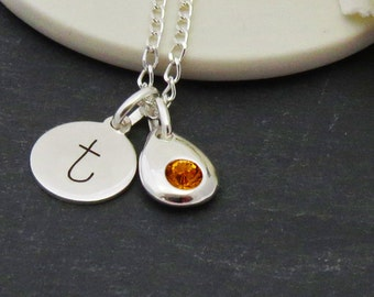 Birthstone Personalized Silver Initial Necklace, Sterling Silver Birthstone Necklace, Sterling Silver Necklace with Initial Charm,