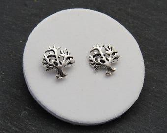 Silver Tree of Life Earrings, Sterling Silver Earrings, Family Tree, Small Stud Earrings, Dainty Studs, Silver Earrings, Small Earrings