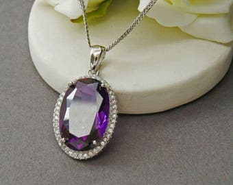 Silver Amethyst Large Pendant, Amethyst Necklace, Sterling Silver Amethyst Jewelry, Amethyst Gemstone Necklace