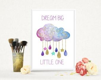 Dream Big Little One Print, Nursery Print, Nursery Wall Print, Bedroom Wall Print