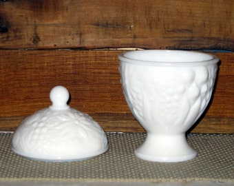 Vintage Milk Glass Bowl Milk Glass Candy Dish with lid flower design
