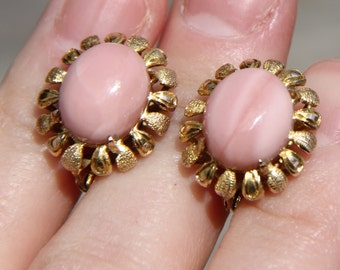 "14K 14KT 585 solid yellow gold pink opal 6.1grams 11/16"" long english european locks earrings"