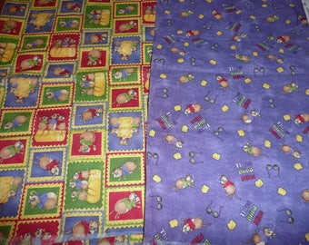 2 Three Blind Mice Cotton Fabric Remnants