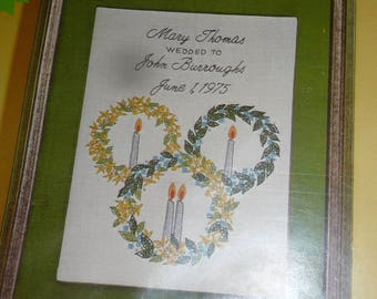 Vintage 1974 Columbia Minerva Stamped Wedding Sampler Embroidery Kit