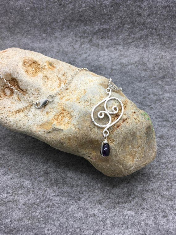 Handcrafted Sterling Silver Swirl Pendant with Amethyst Drop.