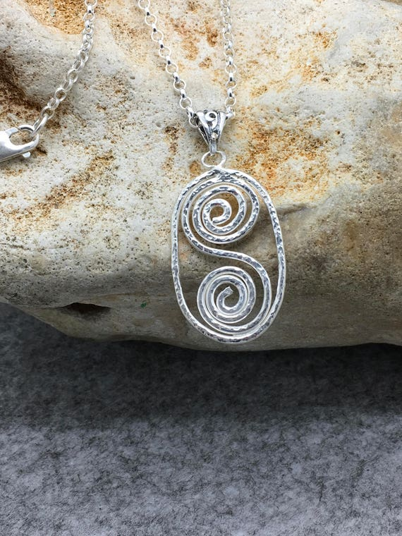 Handcrafted Sterling Silver Hammered Spiral Pendant.