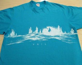 vintage 80s wrap around ski VAIL COLORADO retro shirt 2-SIDED