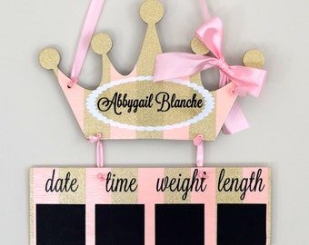 Princess Hospital Door Hanger, Pink And Gold   Baby Girl Hospital Door  Hanger   Princess