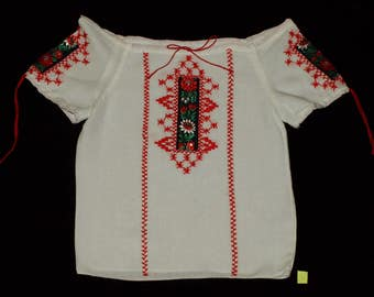 White Hungarian Hand Embroidered Wearable Folk Girls Blouse Size for a 5-6 year old