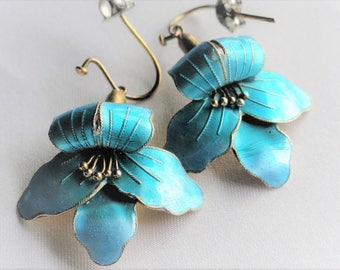 Vintage Sterling 925 Blue Enamel Earrings, Pierced Ear Wire