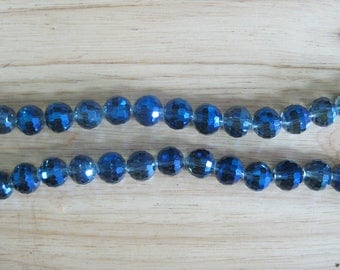 Bermuda Blue 10mm Faceted Crystal, 49pcs