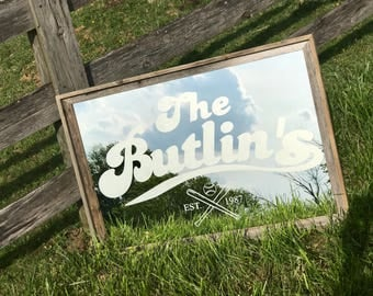 Custom Personalized Baseball Mirror, Large Mirror, Personalized Bar Mirror, Custom Engraved Mirror, Etched Mirror, Custom Bar Mirror 24x36