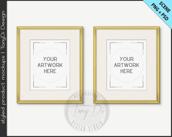 Set of 2 Frame 8x10 Mockup | 4 PNG scene | Thin Gold Silver Empty Frame on White Wall Styled Mockup W26 | Portrait Landscape Frame
