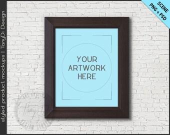 Dark Wood Frame 8x10 Mockup | 4 PNG scene | Empty Frame on Brick Wall Styled Mockup W14 | Portrait Landscape Frame