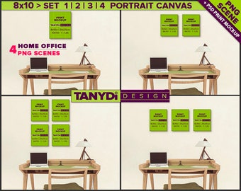 8x10 Portrait Canvas Photoshop Print Mockup C-OF3 | 4 PNG Scenes | Set of canvas on Home office wall | Wood desk