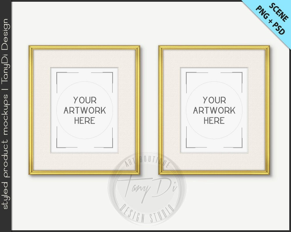 set of 2 frame 8x10 mockup 4 png scene thin gold silver empty frame on white wall styled mockup w26 portrait landscape frame
