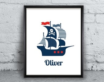 Nautical Nursery Print, Custom Name Printable Art Print, Pirate Nautical Ship Boat Personalised Digital art Prints, Baby Boy / DIGITAL FILE