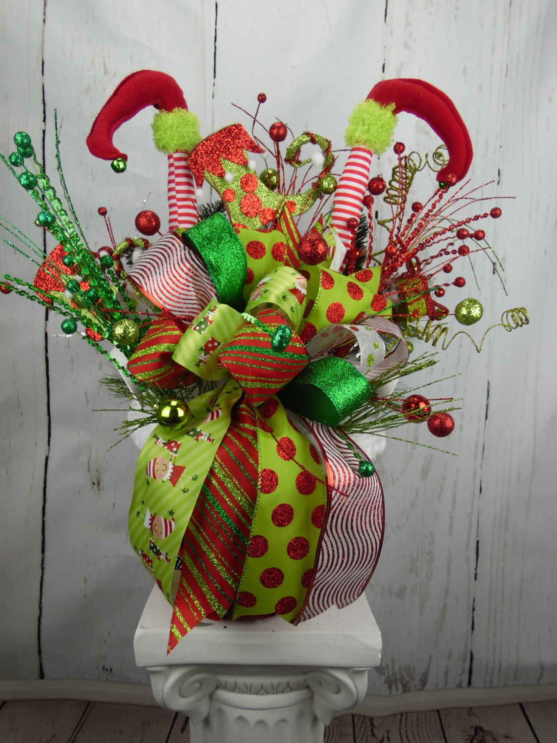 Elf centerpiece christmas holiday