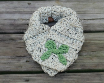 Toddler Bow Scarf // Crochet // Handmade // Free Shipping