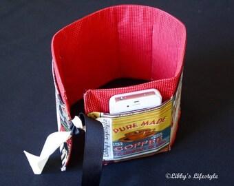 Coffee Lover's handbag organiser. Handmade.