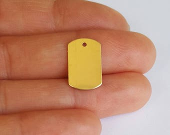 14K Gold Filled Dog Tag, Blank Tag, 9.5x15.2mm, 24 Gauge, Fast Shipping from USA