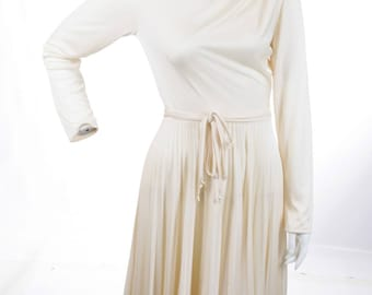 Cream Jersey Pleated Dress