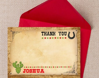 Personalised Wild West Cowboy Birthday Party Thank You Note Cards