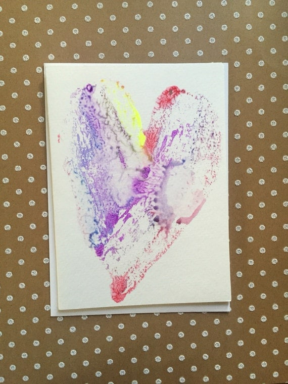 Watercolor Heart Card, Hand Painted Heart Card, Homemade Heart Card