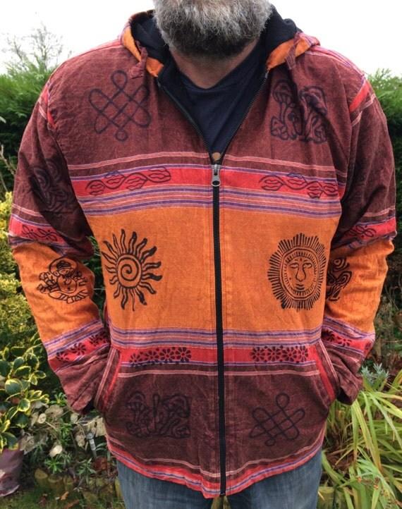 Men and Women's Orange Red Fleece Lined Colorful Stonewash Jacket With Block Print Hippy Boho Unisex M L XL XXL