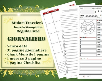 Printable daily calendar Refill inserts Undated Regular-compatible Midori Traveler's Notebook Printable (Italian)