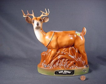 Vintage Old Collectible * Ezera Brooks Whiskey Decanter * Whitetail Deer Buck