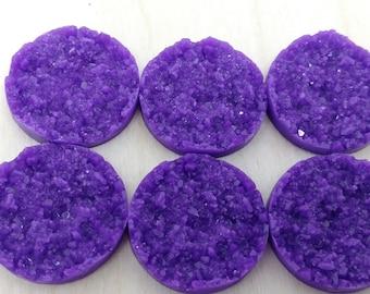 Purple 25mm nugget faux druzy Cabochons 6pcs