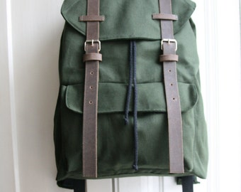 Green Canvas Leather backpack Unique handmade gift for College students, Anniversary gift for women or man