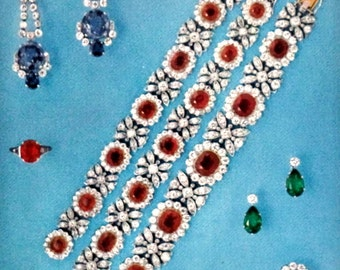Cartier Diamond Sapphire Earrings Vintage Jewelry Lot Ruby Earrings Bracelet Necklace Ring Print Poster 70s Litho  Shop Art Studio Decor