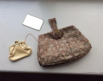 Silk brocade evening purse with rose quartz catch. 1920s