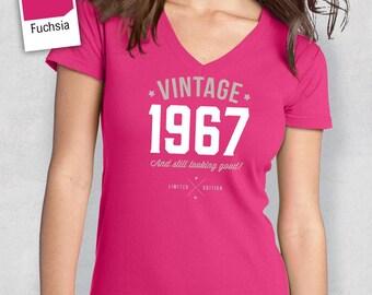 50th Birthday, 1967 Shirt, 1967 Legend. Women's VNeck T-Shirt, 50th Birthday Gift, 50th Birthday Idea, 50 Birthday Present, 50 Birthday Gift