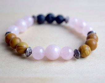 Rose Quartz Bracelet / Wood Jasper Bracelet / Essential Oil Diffuser Bracelet / Lava Stone Diffuser / Meditation Bracelet / Yoga Bracelet