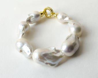 """Bracelet with large baroque pearls """"Ocean of Tenderness..."""""""