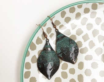 Boho patina copper earrings, tribal, bohemian