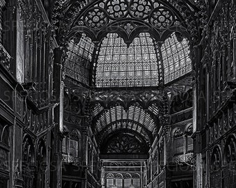 Black and White, photograph, Budapest, Hungary, Parisian Arcade, Urbex, Art Nouveau, abandoned, shopping mall, art print, Pàrizsi Udvar