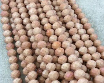 """8mm x 10mm Matte AB Finish Faceted Opaque Bicolor Peach Chinese Crystal Rondelle Beads - Sold by 17"""" Strands (Approx 57 Beads) - (CC810-146)"""