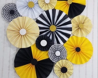 Bumble Bee Black And Yellow Party Pinwheel Rosettes Paper Fans Day Decor Birthday